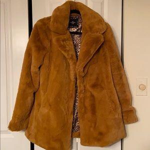 lovely light brown faux fur Jessica Simpson coat